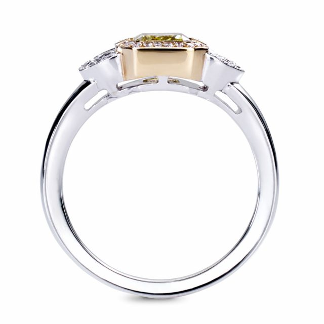 Fancy vivid yellow diamond ring in white and rose gold