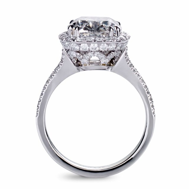 5 ct. cushion cut diamond ring in platinum with split shank