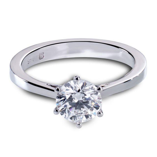 6-klørs forlovelsesring i platina med én briljant