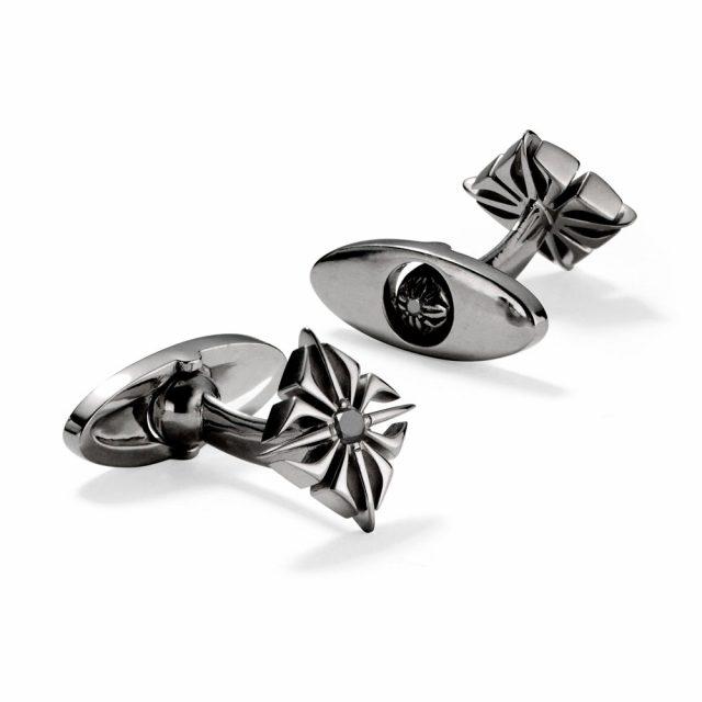 Shamballa star cufflinks in black rhodium white gold and black diamonds