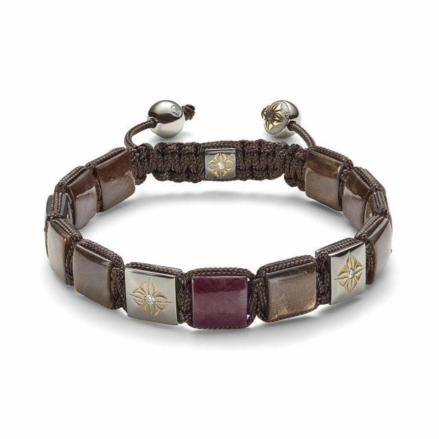 Shamballa lock armbånd i rosé gull med rubin, brun safir og diamanter