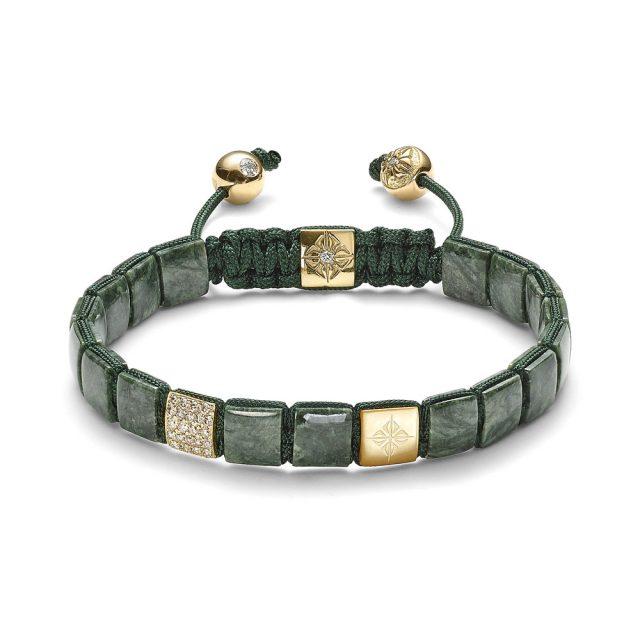 Shamballa small lock armbånd i gult gull med grønn marmor og diamanter