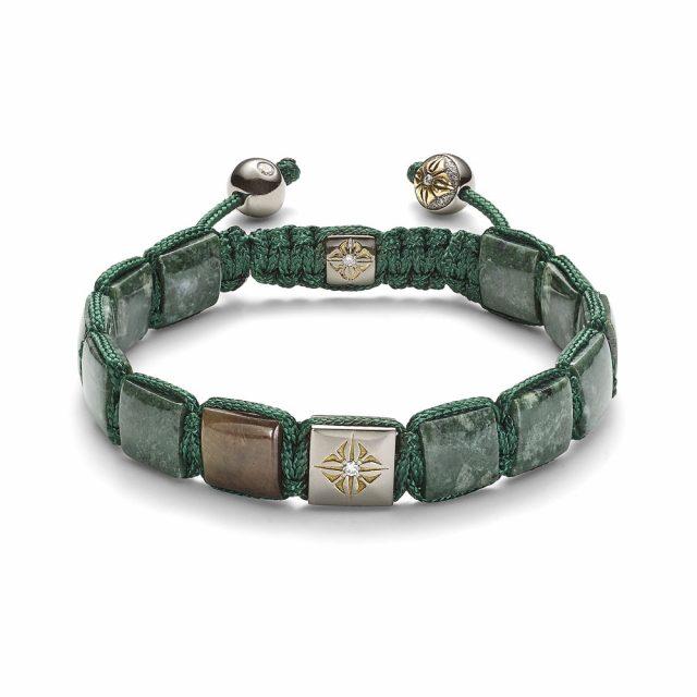 Shamballa lock armbånd i gult gull med brun safir og grønn marmor