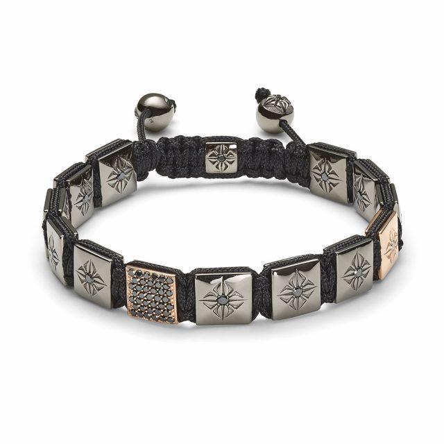 Shamballa lock armbånd i rosé og hvitt gull med sorte diamanter