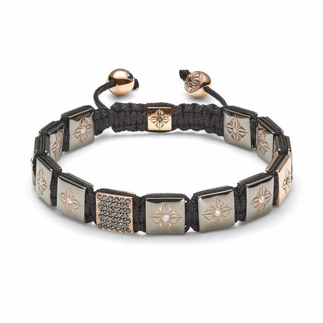 Shamballa lock armbånd i rosé med sorte diamanter og brillianter