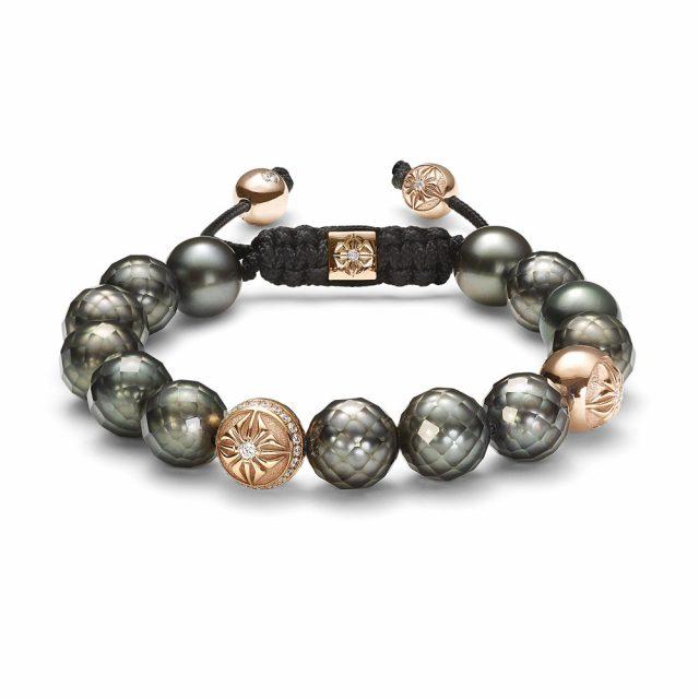10mm armbånd i rosé gull med fasetterte tahitiperler og diamanter