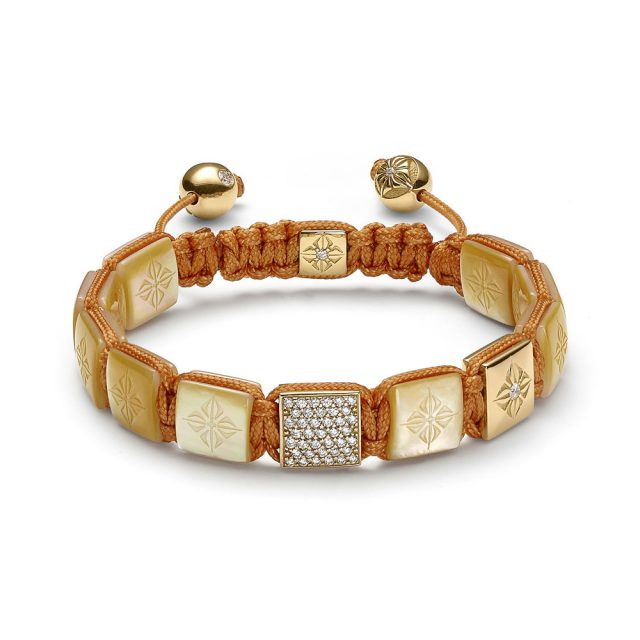 Shamballa lock armbånd i rosé gull med gylden perlemor og diamanter