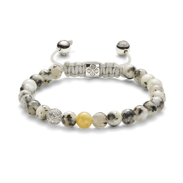 6mm armbånd i hvitt gull og hvit granitt med gul safir og diamanter