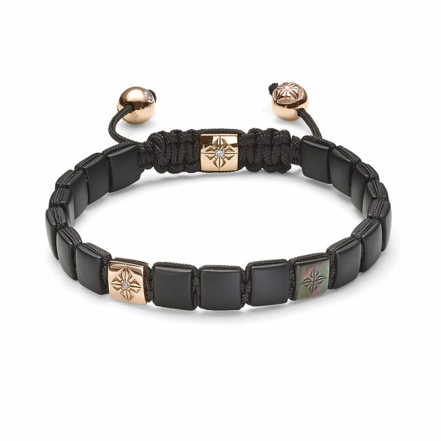 Small lock armbånd i rosé gull, onyx og tahiti perlemor