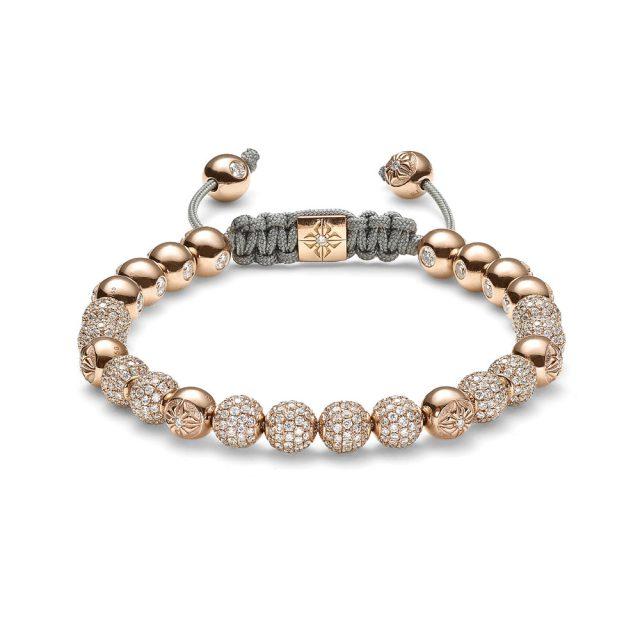 Shamballa 6mm armbånd i rosé gull med diamanter