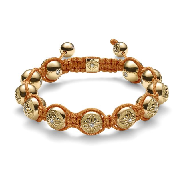 Shamballa 10mm armbånd i gult gull med diamanter