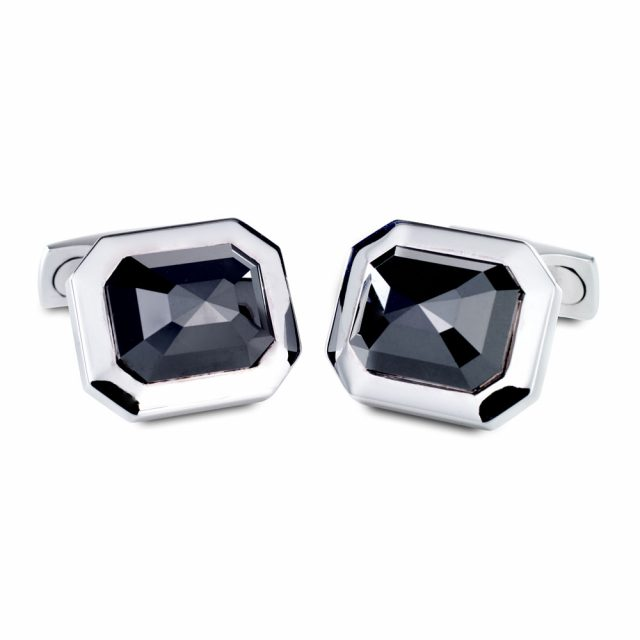 14 carat solide sorte diamantmansjettknapper i hvitt gull