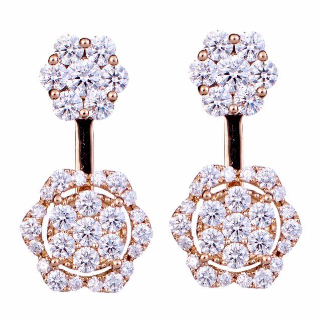 Double Flower ørepynt i roségull fattet med diamanter