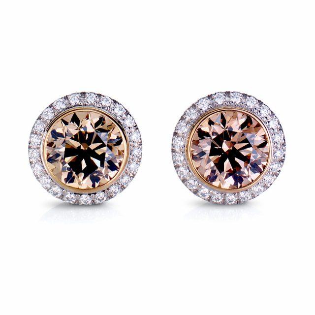 Exclusive ørepynt i roségull og platina med champagnefargede diamanter