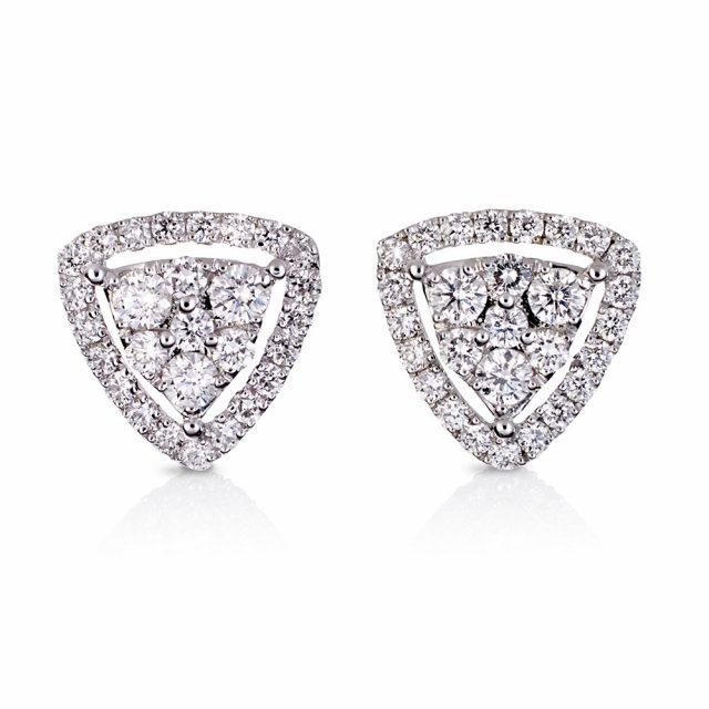 Trilliantformede ørepynt i hvitt gull med diamanter