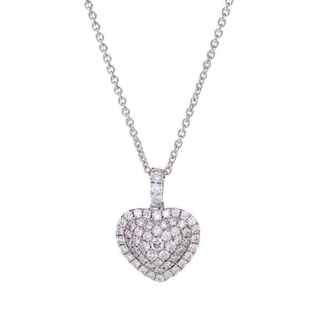 Hjerteformet anheng i hvitt gull med diamanter