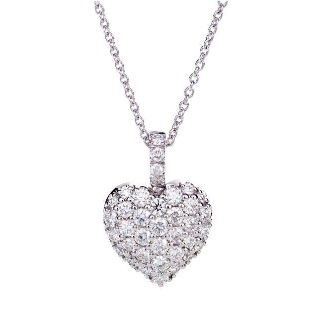 Hjerteformet anheng i hvitt gull med flere små diamanter