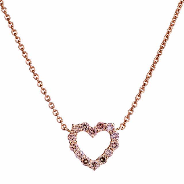 Hjerteanheng i rosé gull med champagnefargede diamanter