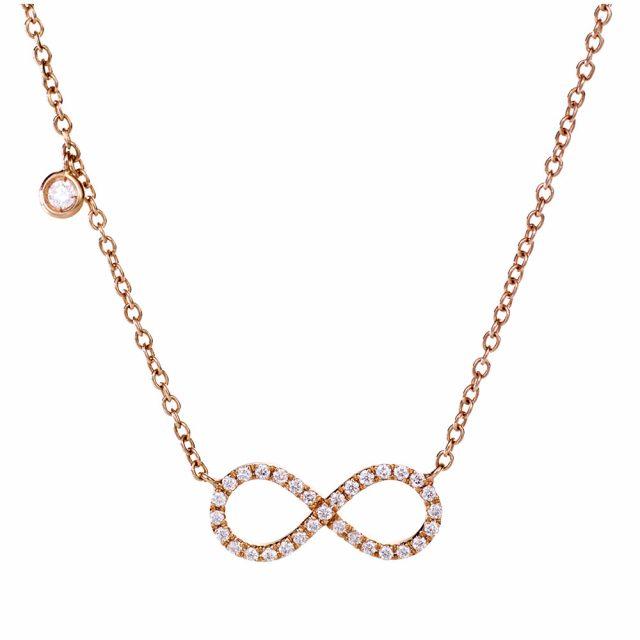 Anheng med uendelighetstegn i roségull med diamanter