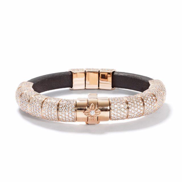 Korne armbånd i rosé gull og skinn med diamanter