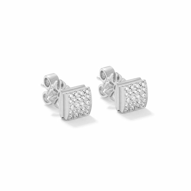 Shamballa lock pave earrings in white gold and diamonds