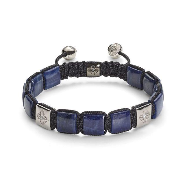 Shamballa big lock bracelet in white gold, sapphire and white diamonds