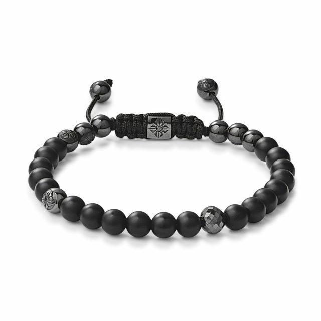 Shamballa 6mm armbånd med sorte diamanter og onyx