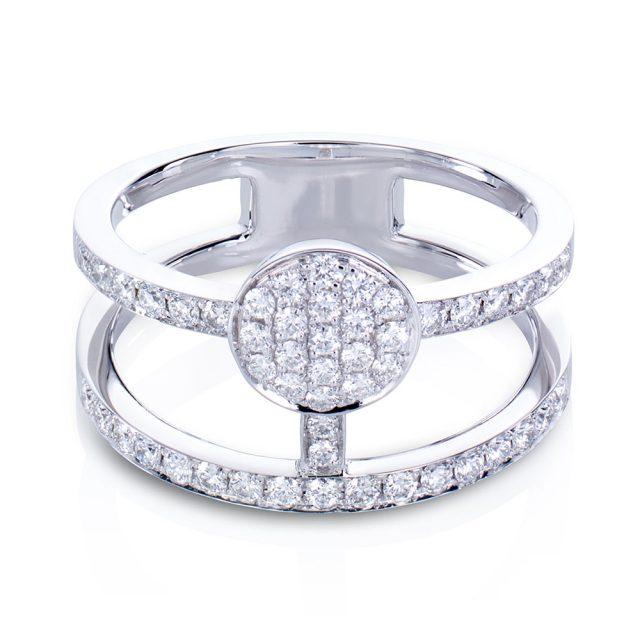 Circle ring i hvitt gull med diamanter