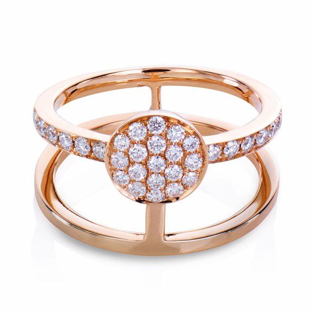 Circle ring i rosé gull med diamanter