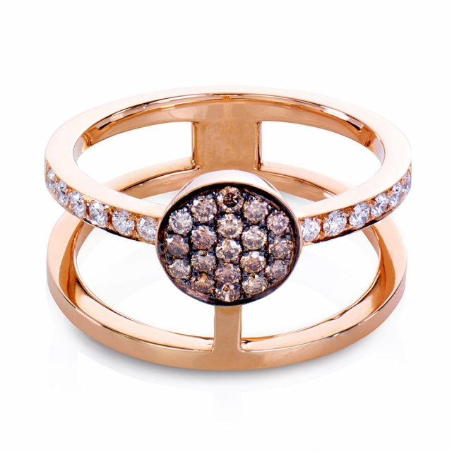 Circle ring i rosé gull med champagnefargede diamanter