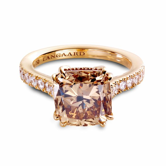 0969521f4 5.07 ct. champagne colored diamond ring in rose gold with white ...