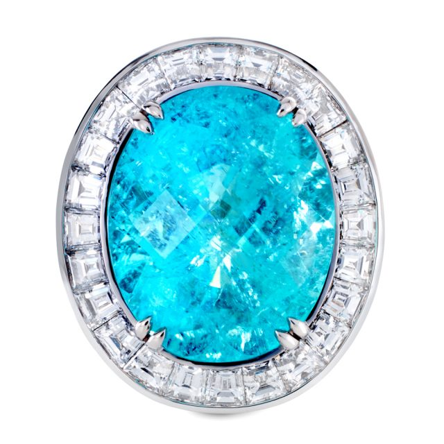Cocktail ring i platina med paraiba turmalin og diamanter