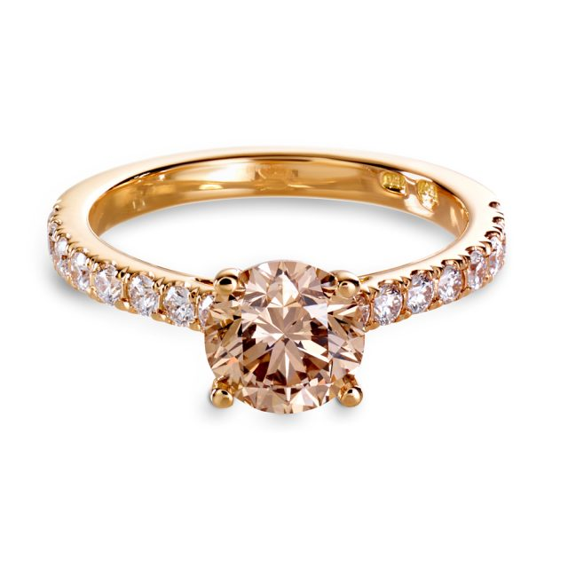 4 prong champagne diamond solitaire ring in rose gold