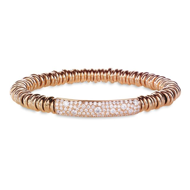 Rundals stretch bracelet in rose gold with white diamonds