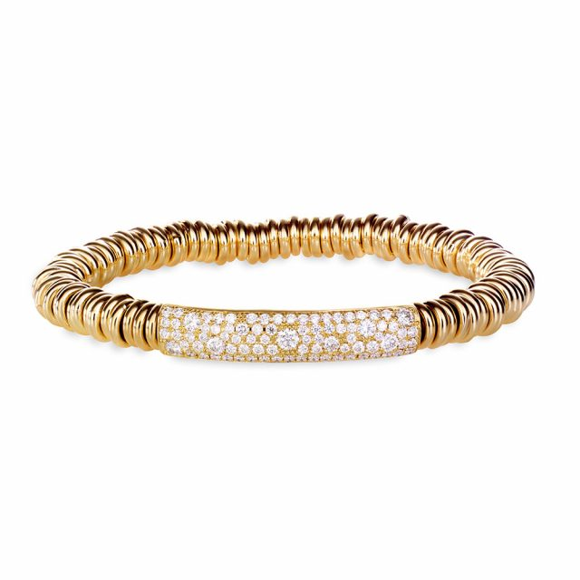 Stretch-armbånd i gult gull med diamanter