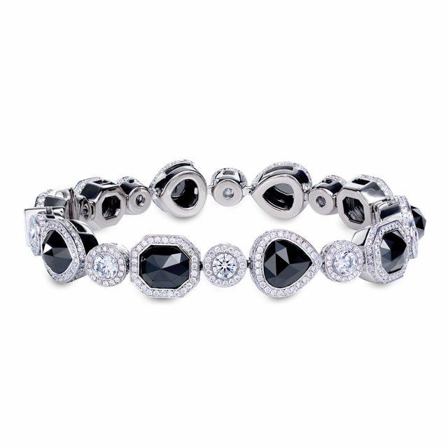 Armbånd med roseslipte sorte diamanter og brillianter