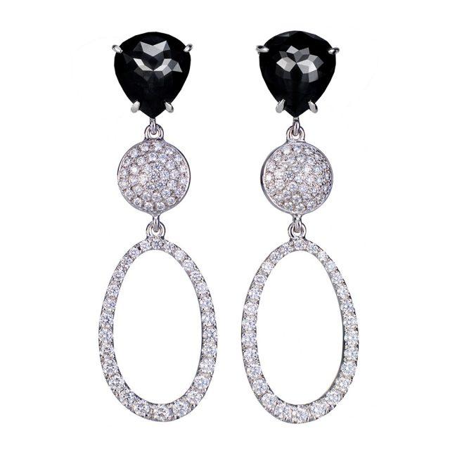 Fantasislipte sorte diamantørepynt med brillianter