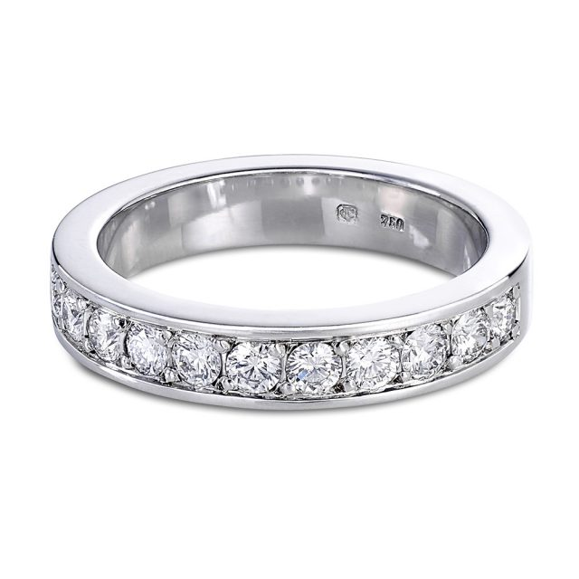 Half set round diamond ring in white gold