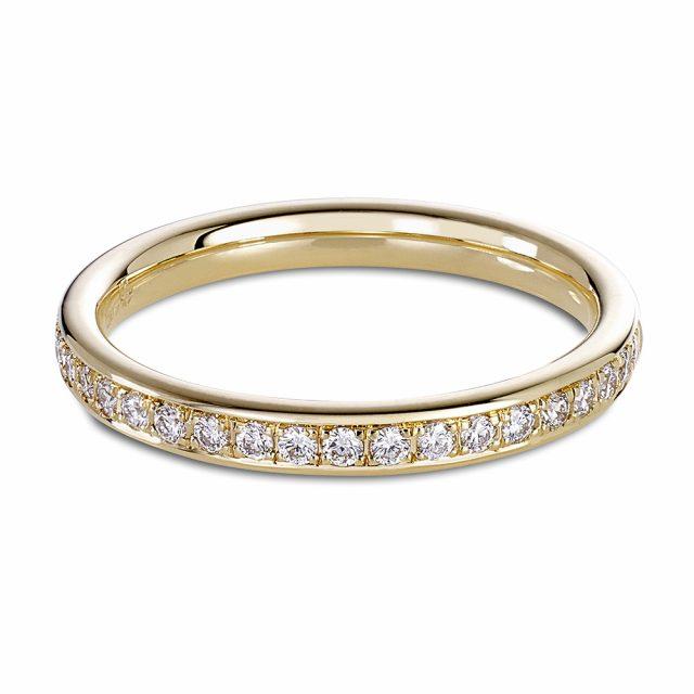 Halvt utfattet alliansering i roségull med 21 diamanter