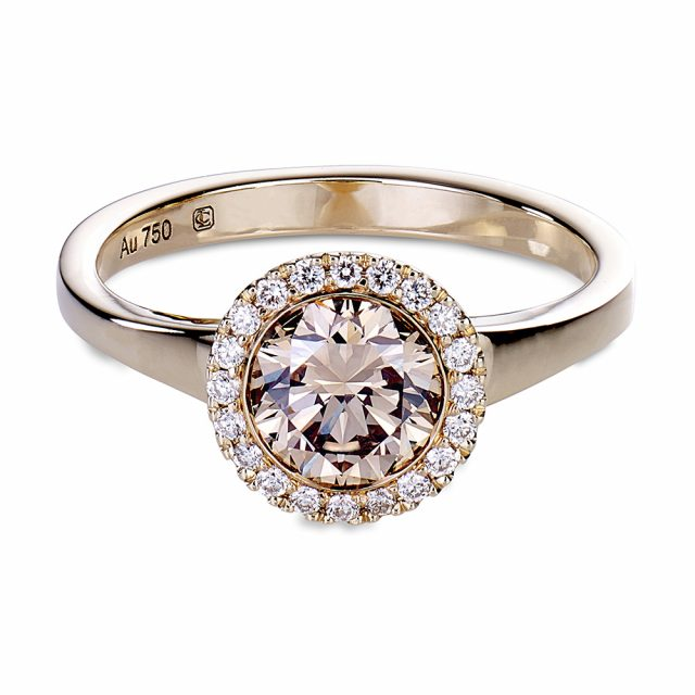 Exclusive collection halo ring in rose gold with champagne and white diamonds