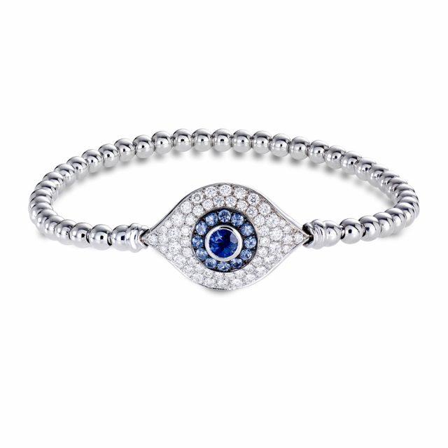 Elastisk armbånd i hvitt gull med diamanter og safirer
