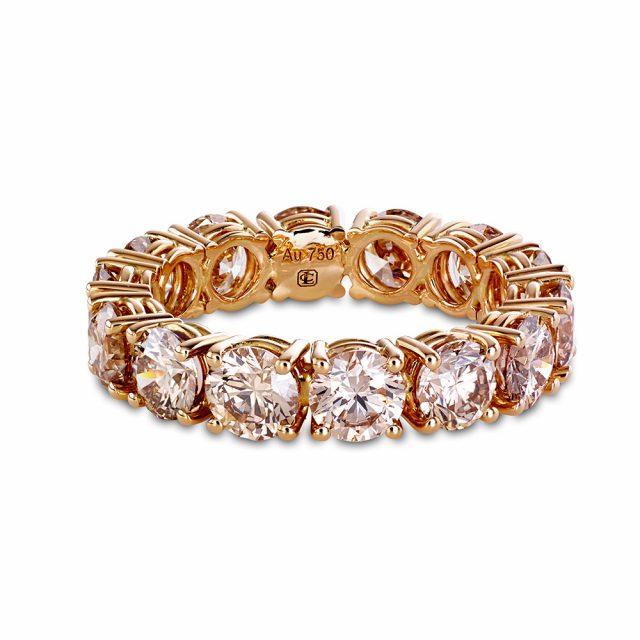Alliansering i rosé gull med champagnefargede diamanter