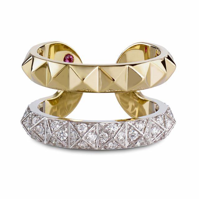 Rock and Diamonds ring i hvitt og gult gull med diamanter