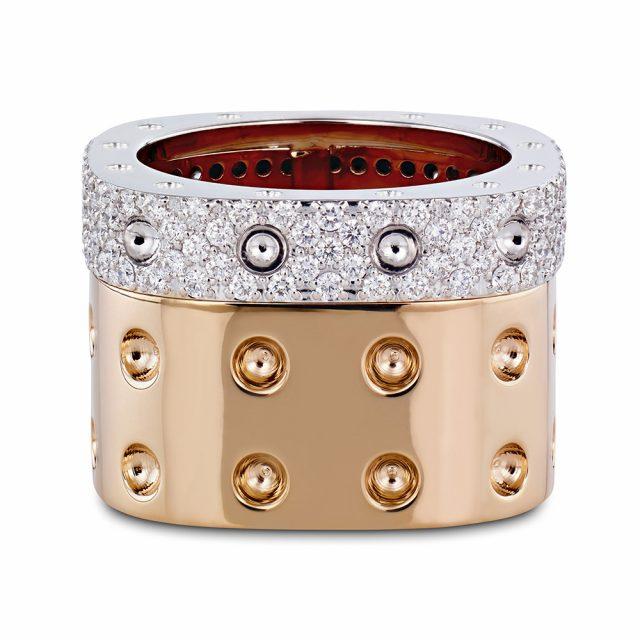 Pois Moi ring i hvitt og rosé gull med diamanter