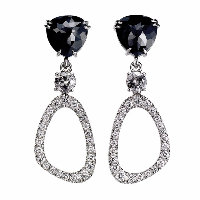 Black evening earrings in platinum with black and white diamonds