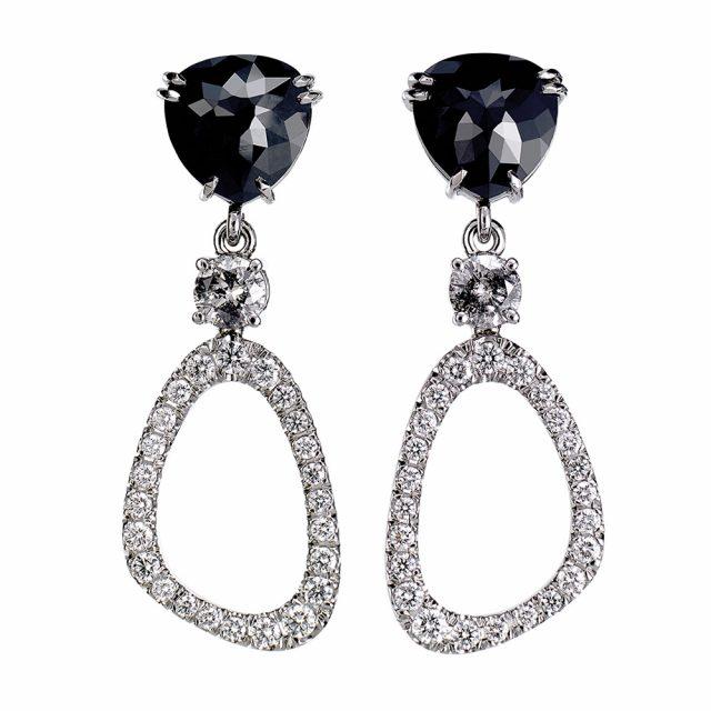 Black evening ørepynt i platina med sorte og hvite diamanter