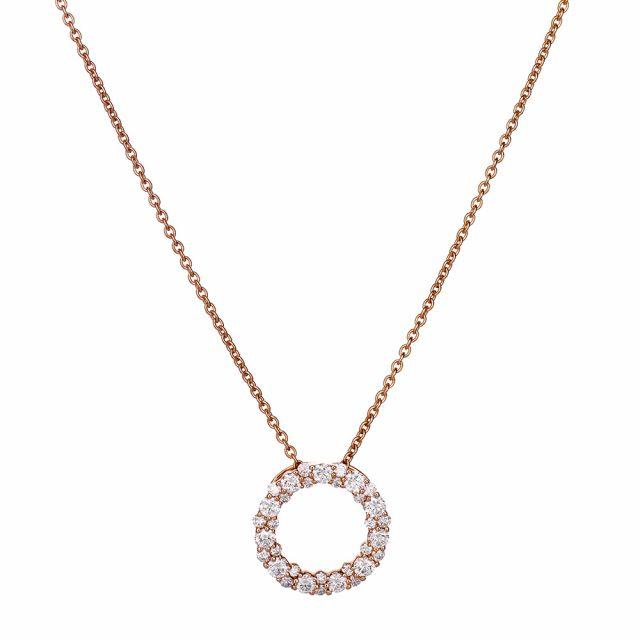 Sirkelanheng i roségull med diamanter