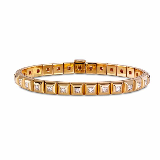 Armbånd i roségull fattet med prinsesseslipte diamanter