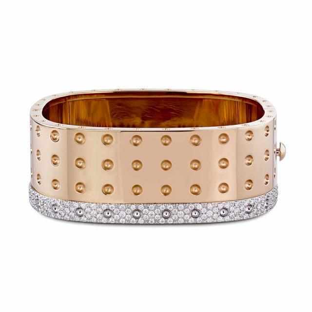 Pois Moi armring i rosé og hvitt gull med diamanter