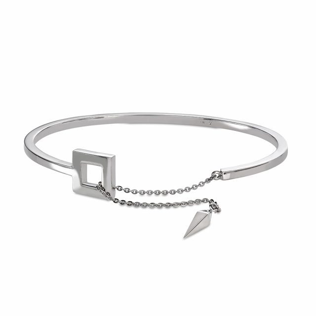 SPEAR bangle in polished white gold with chain